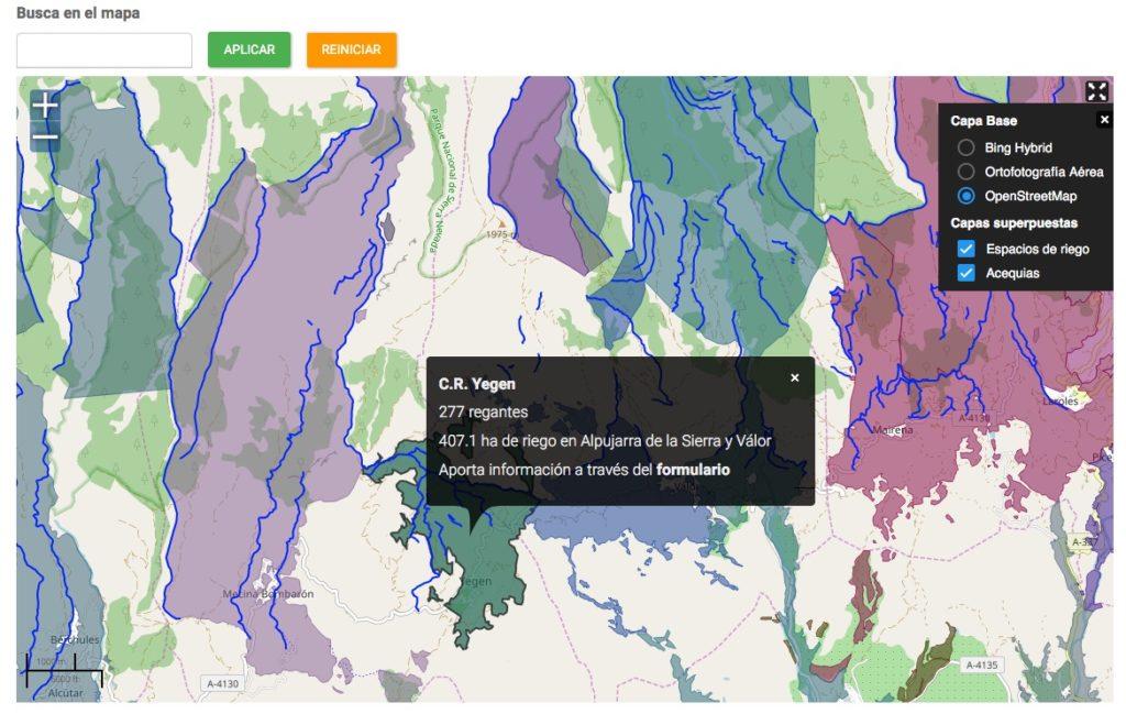 Imagen para el artefacto digital Mapa colaborativo de regadíos históricos de Granada y Almería