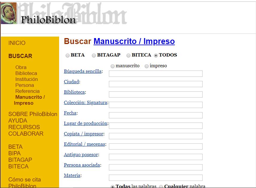 Imagen para el artefacto digital Buscador de manuscritos e impresos en PhiloBiblon