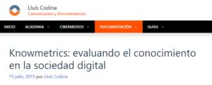Más información sobre Red Knowmetrics: una reseña de Lluís Codina