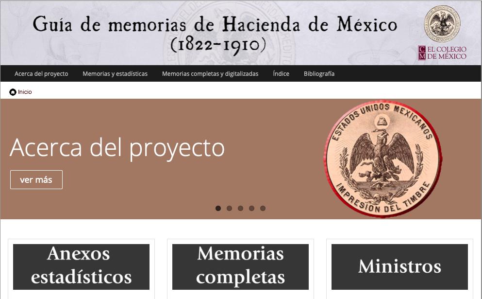 Imagen para el artefacto digital Guía de Memorias de Hacienda de México, 1822-1910