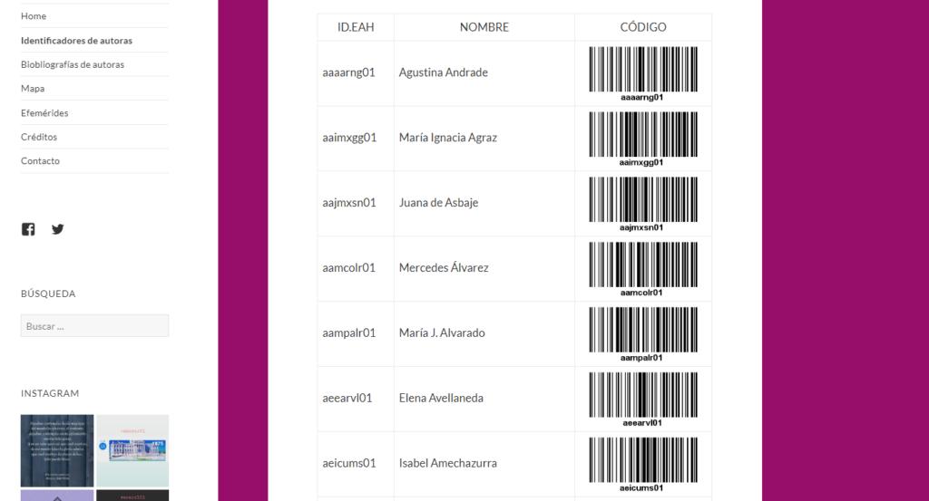 Imagen para el artefacto digital Identificadores de EscritorasAH