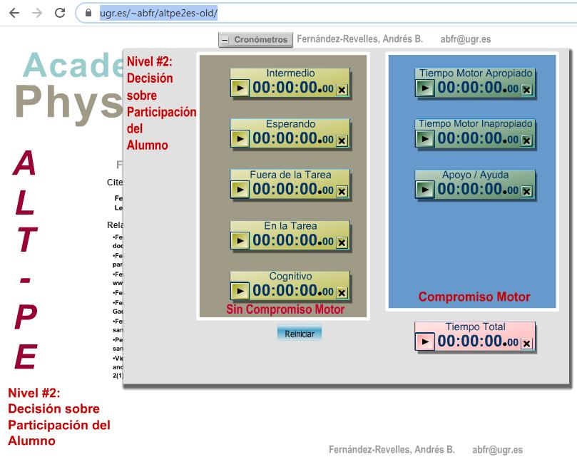 Imagen para el artefacto digital Alt-pe Academic Learing Time in Physical Education – Nivel 2 Participación del alumno