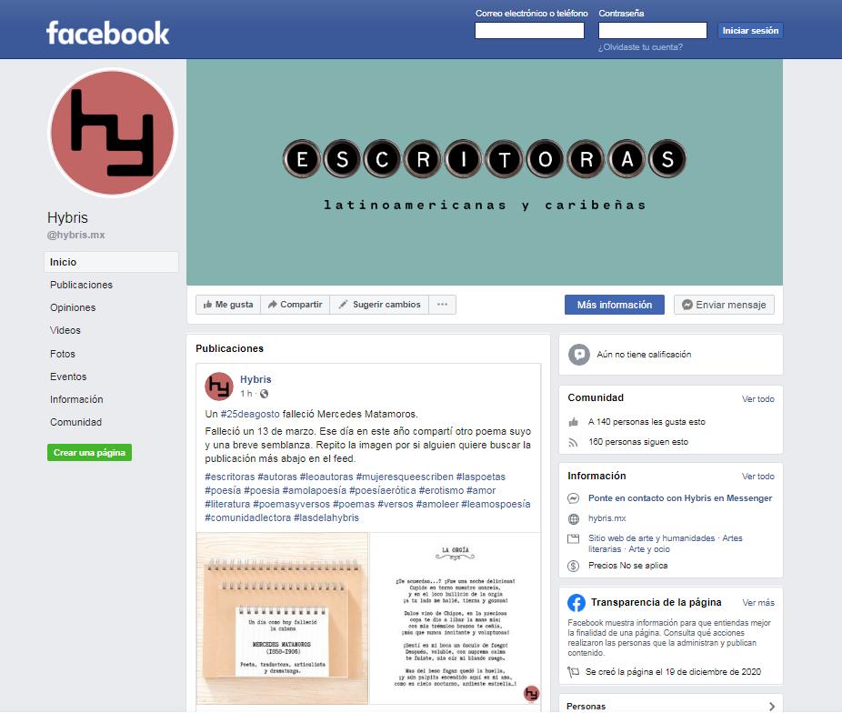 Imagen para el artefacto digital Fanpage de Hybris en Facebook